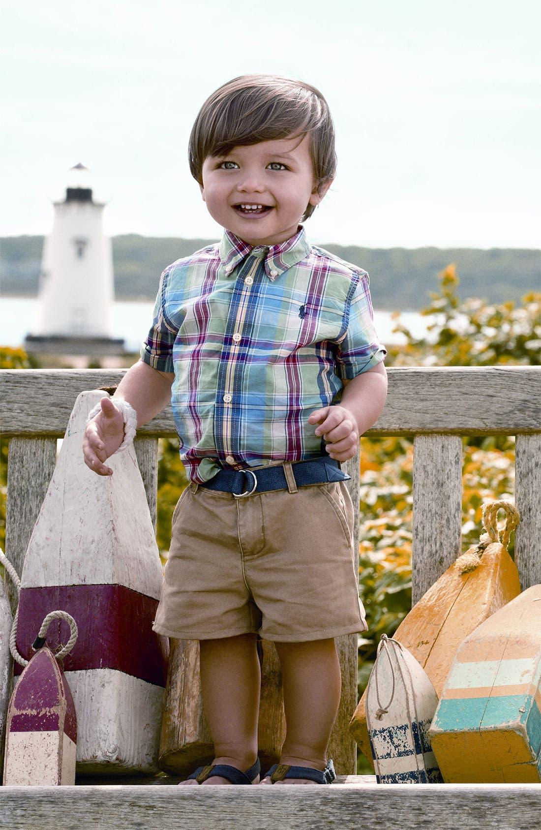 Alternate Image 1 Selected - Ralph Lauren Shirt, Shorts & Boat Shoe (Infant)