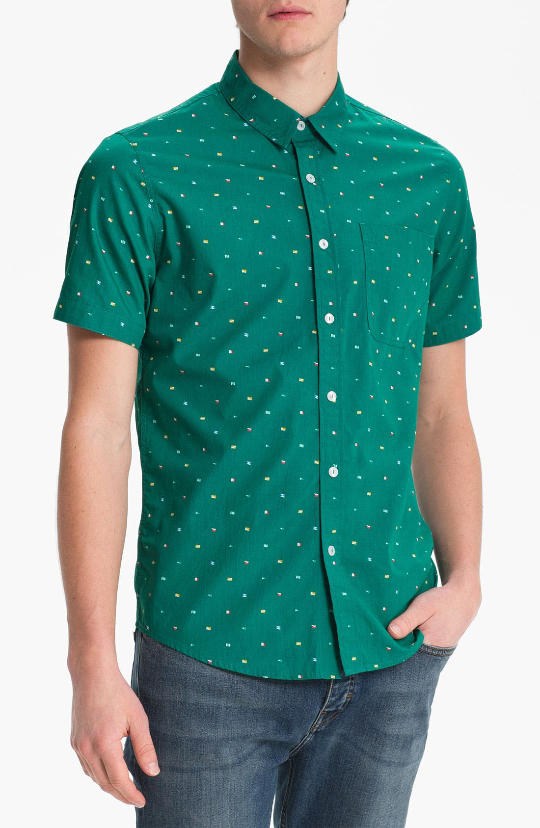 Main Image - Topman Green Flag Print Shirt