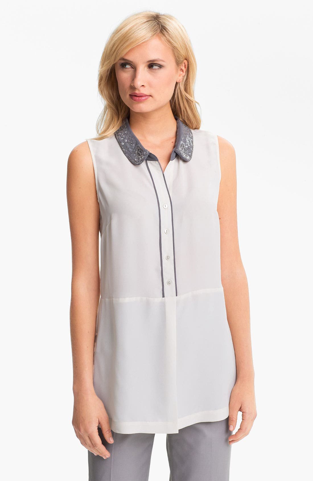 Main Image - Nic + Zoe Sequin Collar Sleeveless Blouse (Petite)