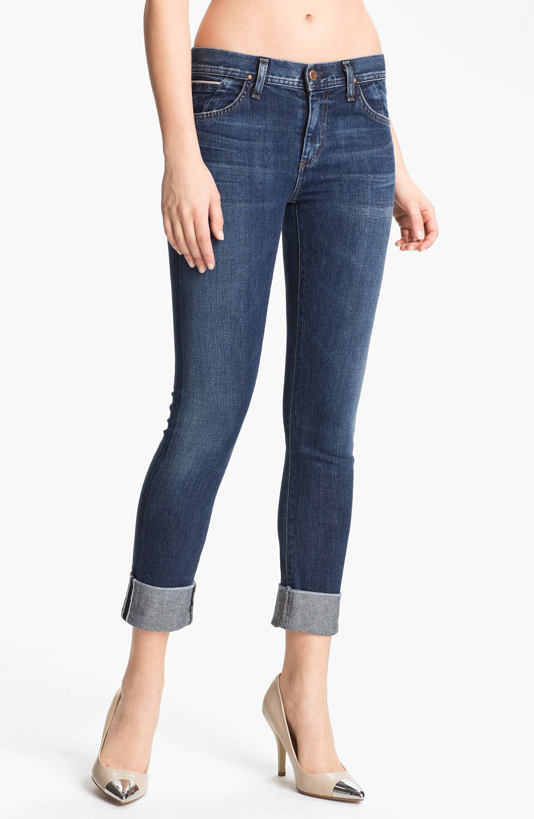 Main Image - Goldsign 'Jenny' High Waist Crop Skinny Jeans (Debut)