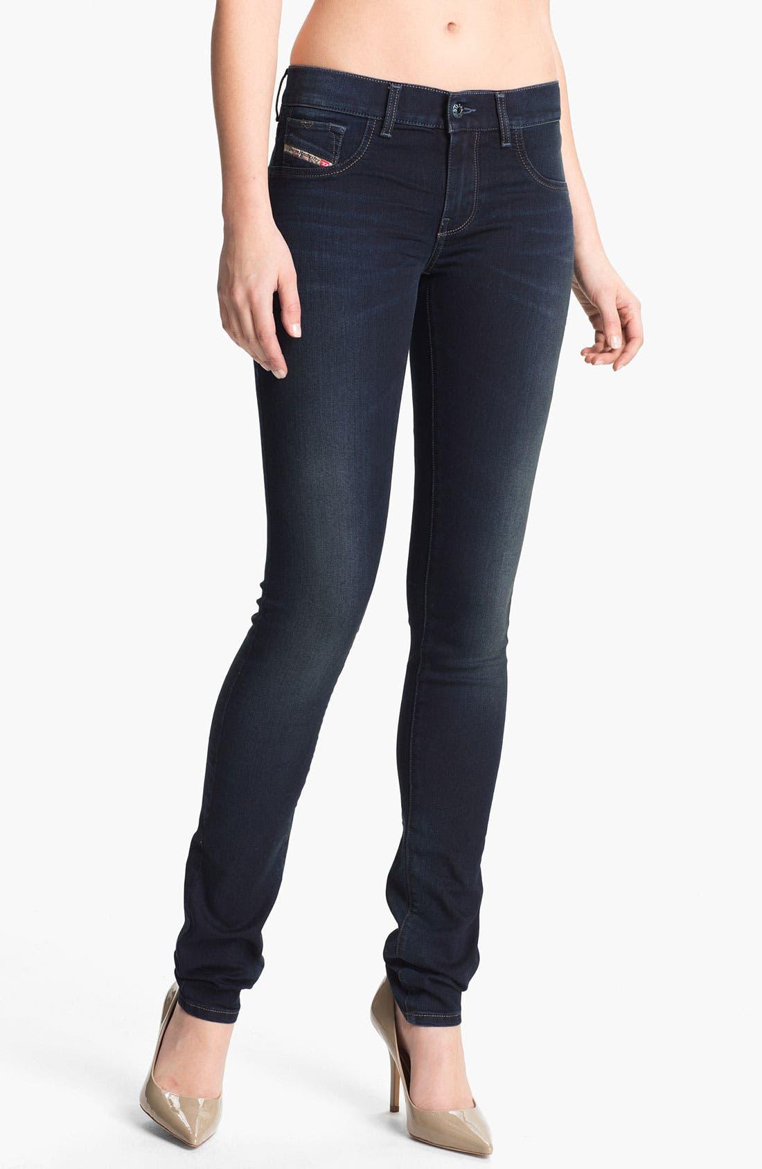 Alternate Image 1 Selected - DIESEL® 'Livier' Stretch Denim Skinny Jeans (Blue)