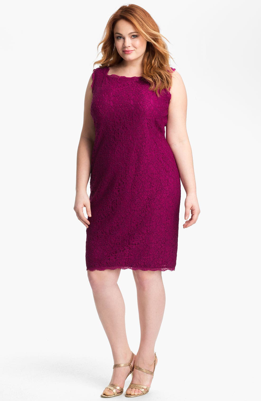 Alternate Image 1 Selected - Adrianna Papell Sleeveless Lace Sheath Dress (Plus Size)