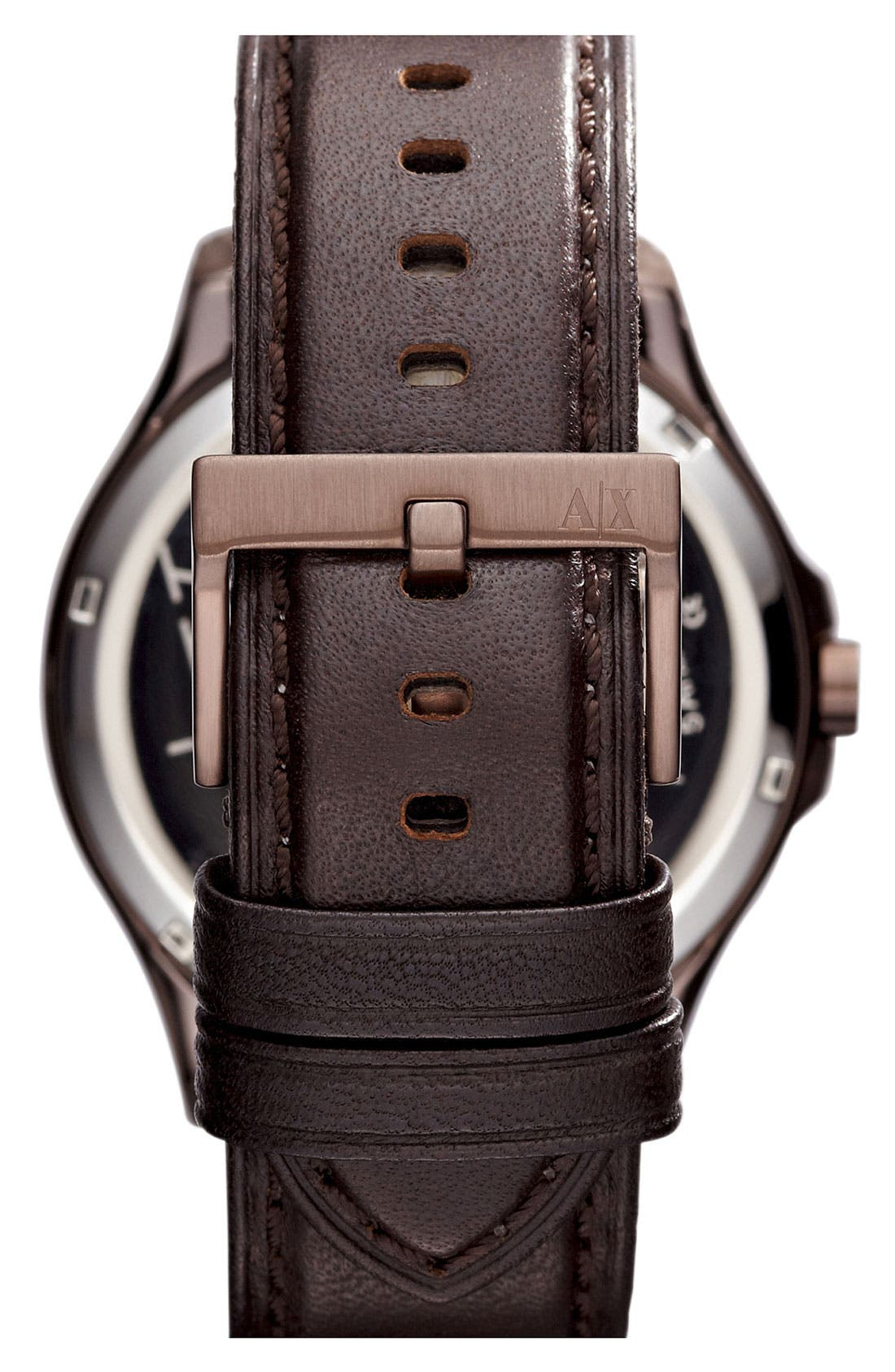 Alternate Image 3  - AX Armani Exchange Round Leather Strap Watch, 46mm