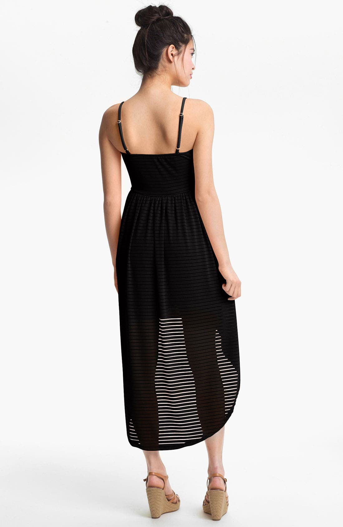 Alternate Image 2  - Mimi Chica Sheer Stripe High/Low Dress (Juniors)