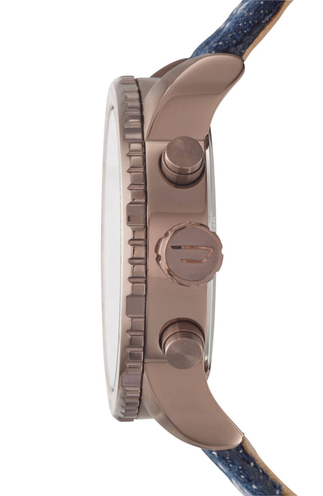 Alternate Image 2  - DIESEL® 'Little Daddy' Large Leather Strap Watch, 51mm