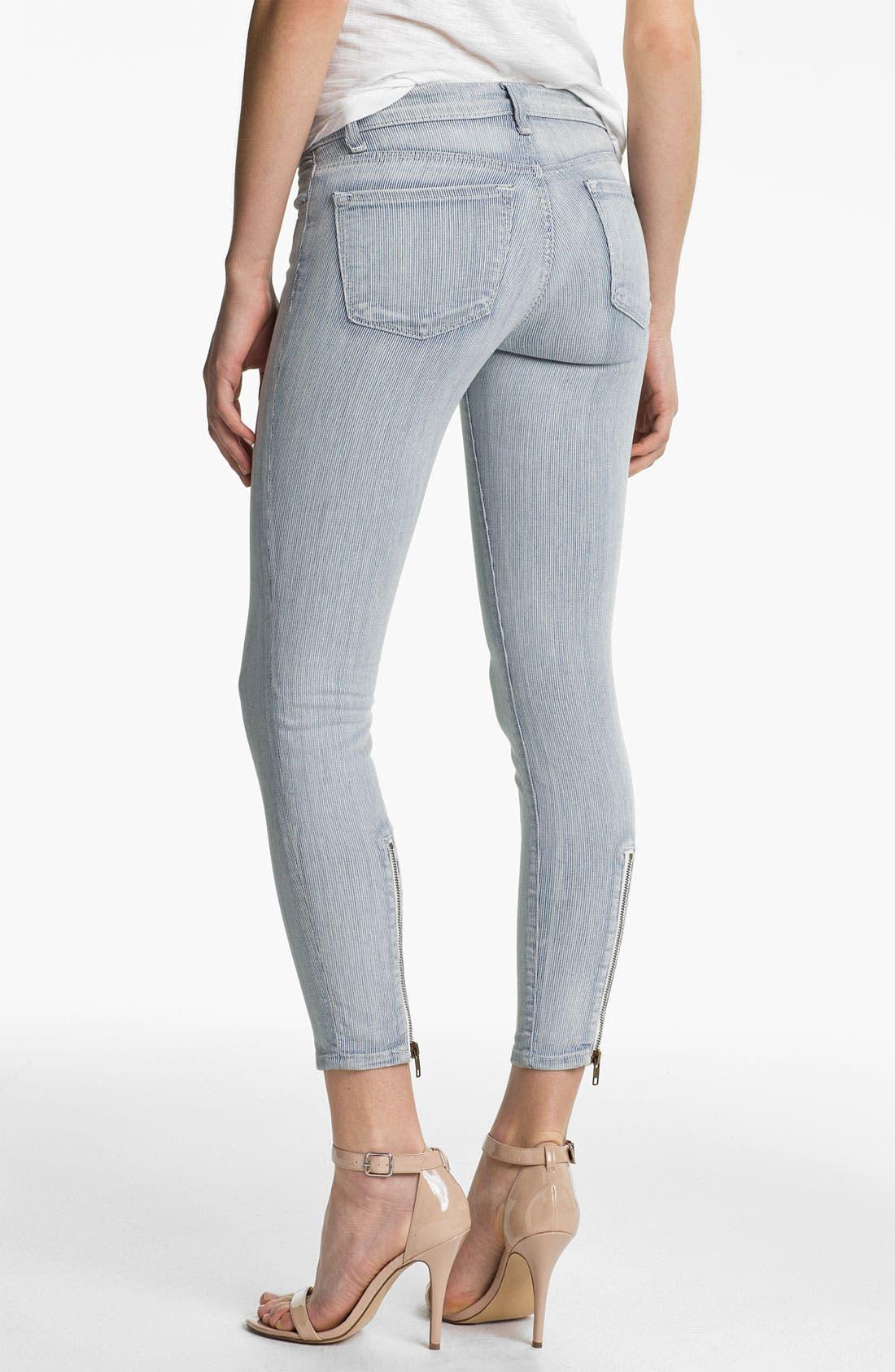 Alternate Image 2  - J Brand Stripe Zip Ankle Skinny Jeans (Tracks)