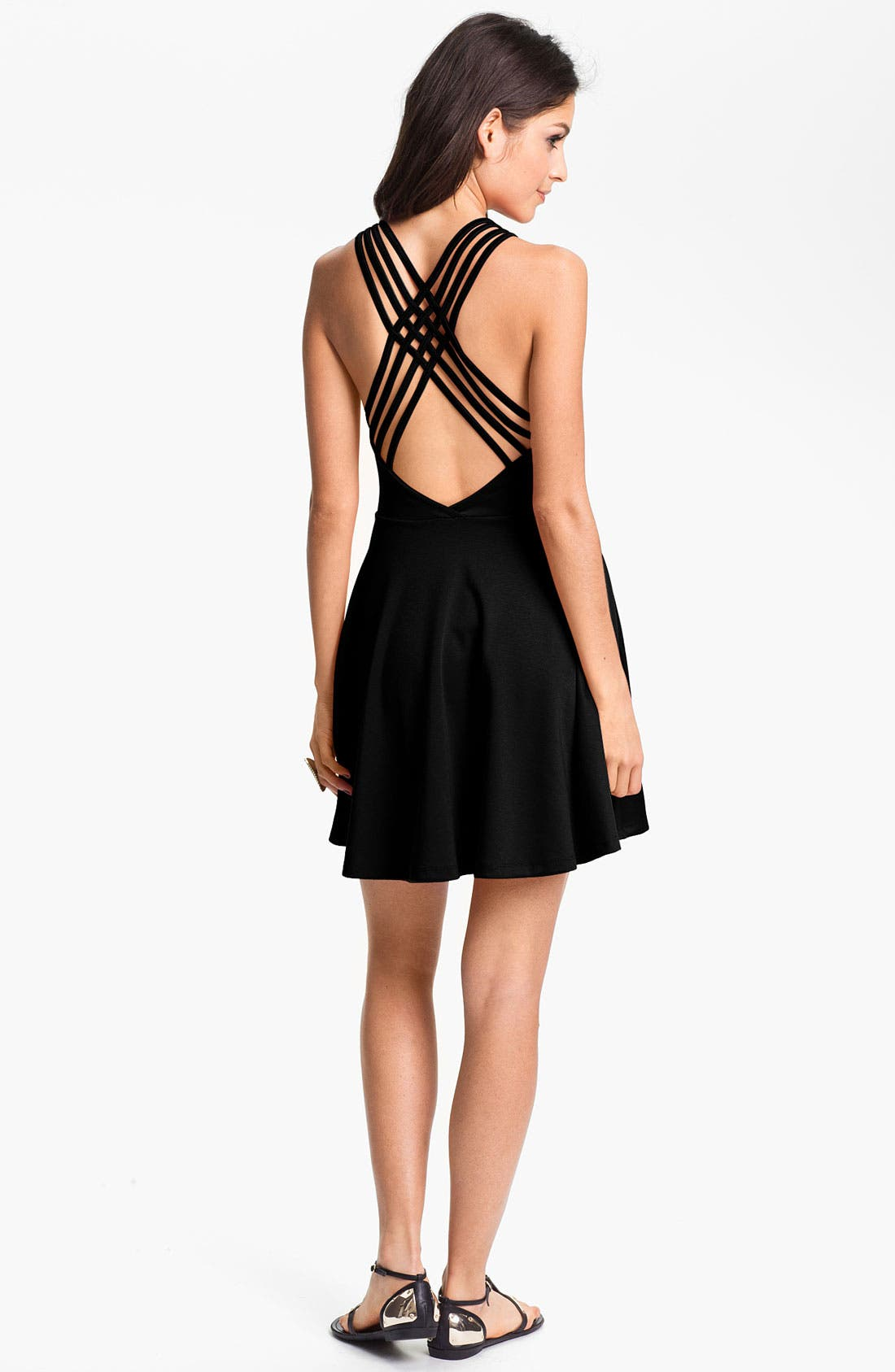 Alternate Image 2  - Lush Crossback Skater Dress (Juniors)