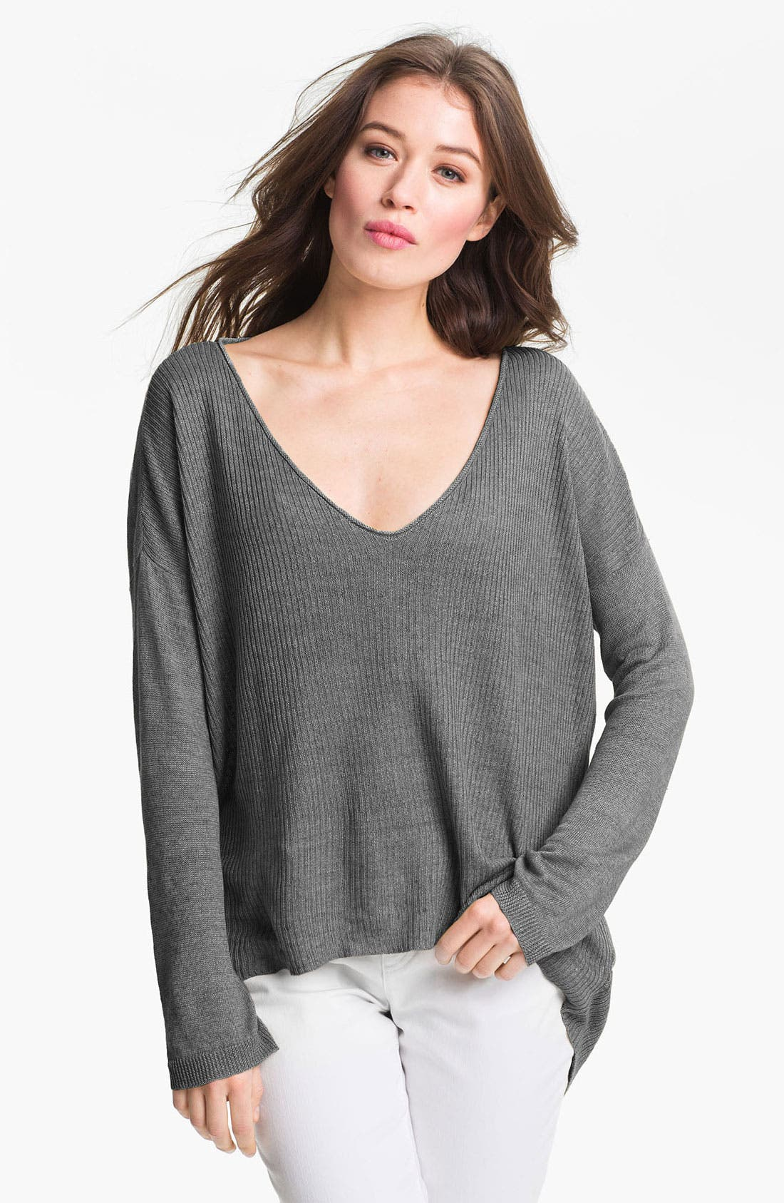 Alternate Image 1 Selected - Eileen Fisher 'Delave' Linen V-Neck Sweater (Online Only)