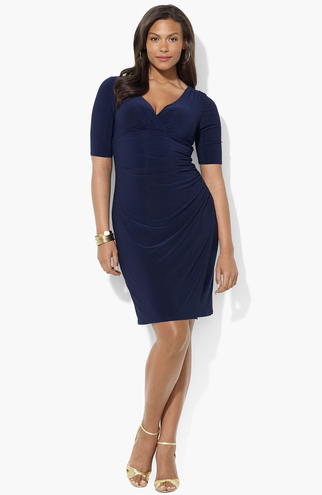 Main Image - Lauren Ralph Lauren Ruched Matte Jersey Dress (Plus)