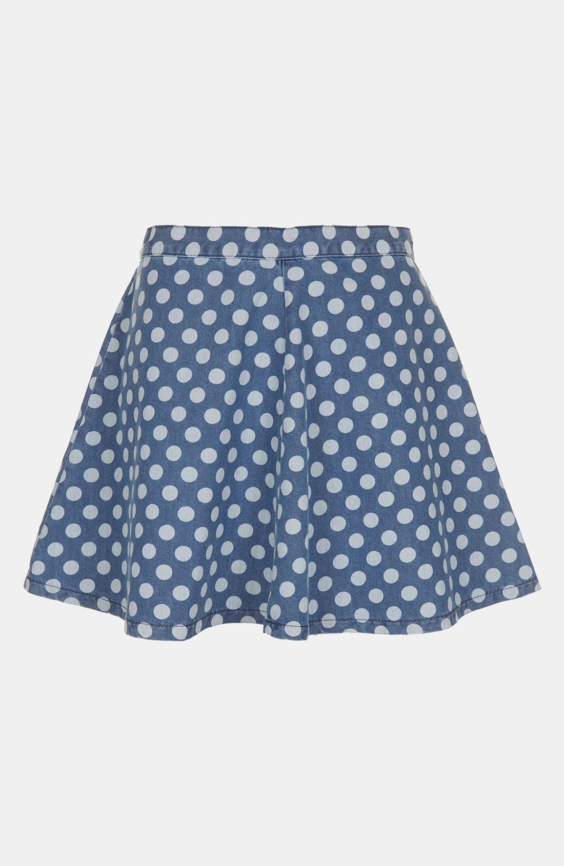 Alternate Image 1 Selected - Topshop Moto Polka Dot Denim Skater Skirt