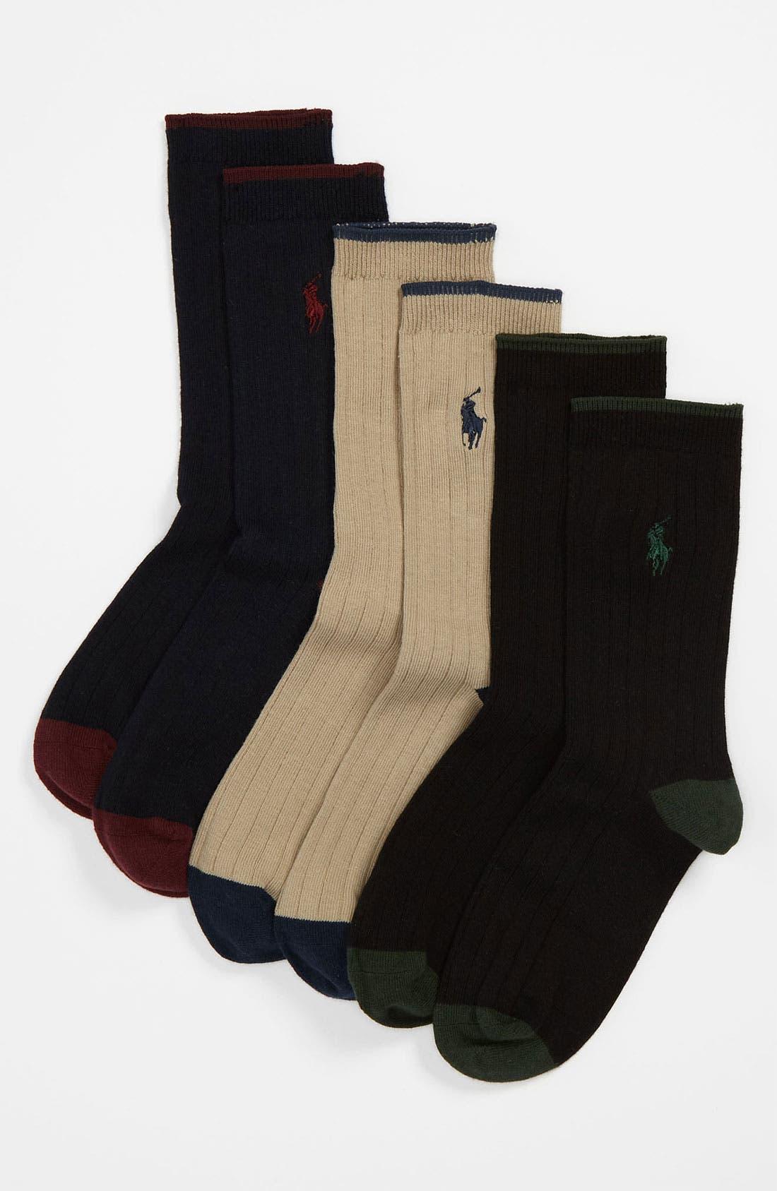 Alternate Image 1 Selected - Polo Ralph Lauren Dress Socks (3-Pack) (Toddler Boys, Little Boys & Big Boys)