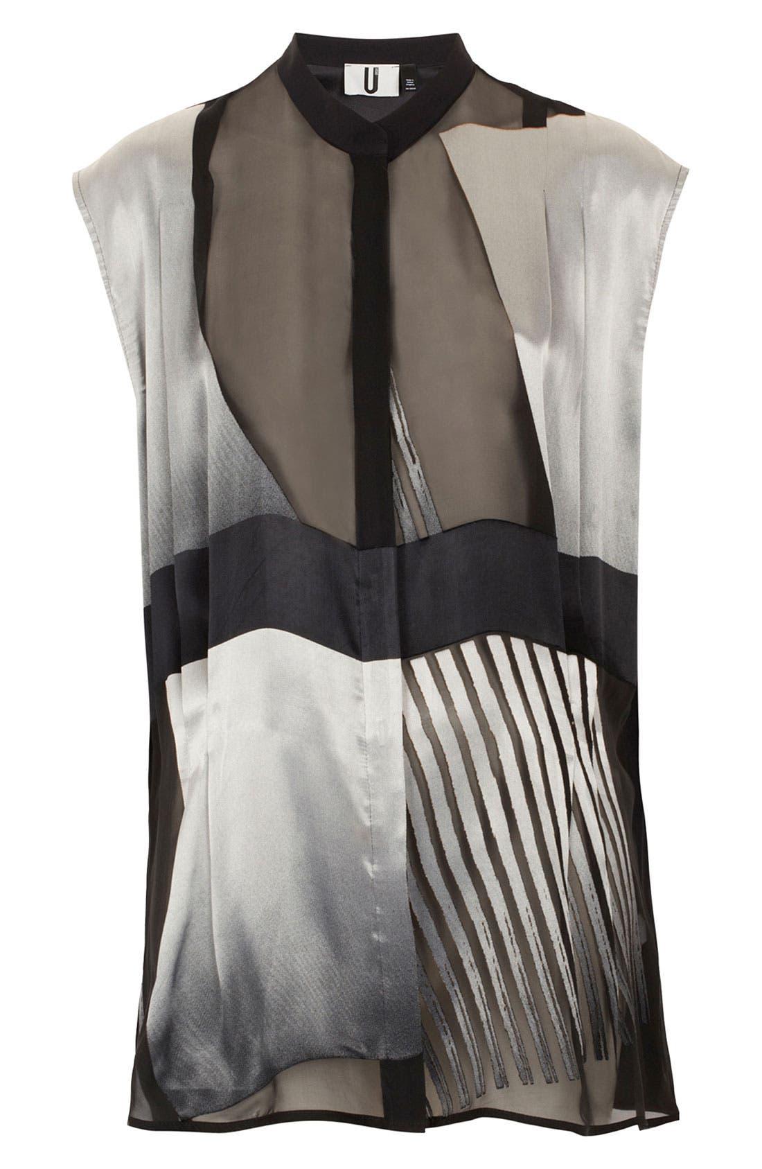 Main Image - Topshop Unique Oversized Silk Devore Shirt