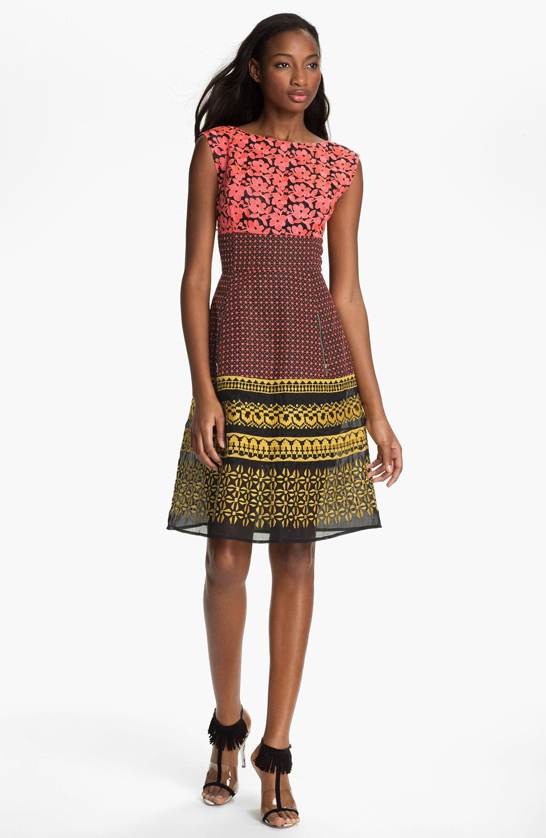 Alternate Image 1  - Tracy Reese Embroidered Mash-Up Frock