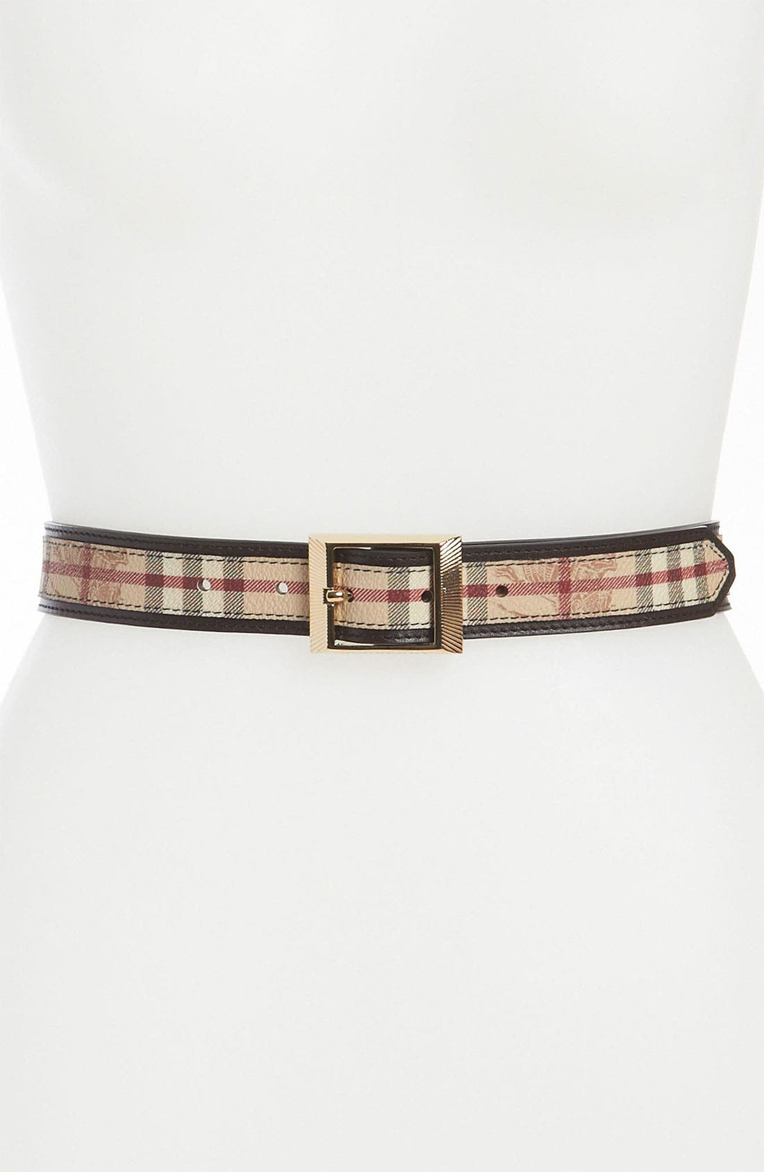Main Image - Burberry Check Print Leather Belt