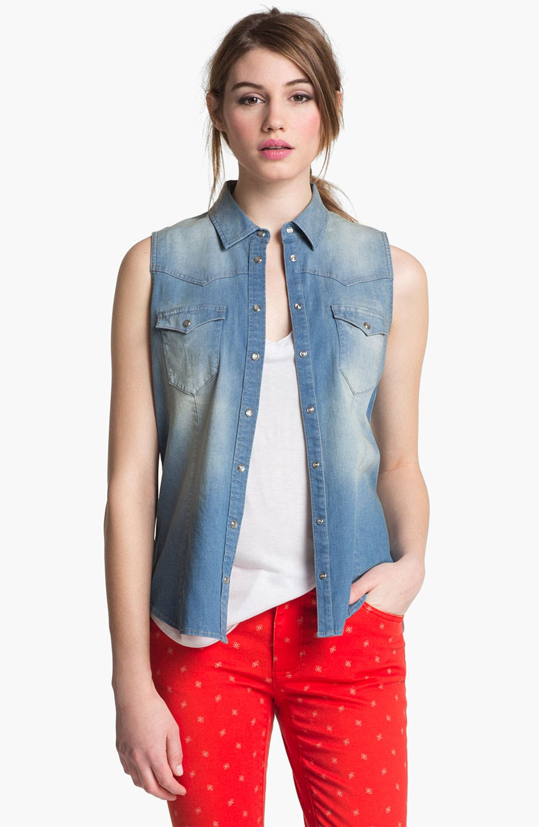 Alternate Image 1 Selected - Two by Vince Camuto Sleeveless Chambray Shirt