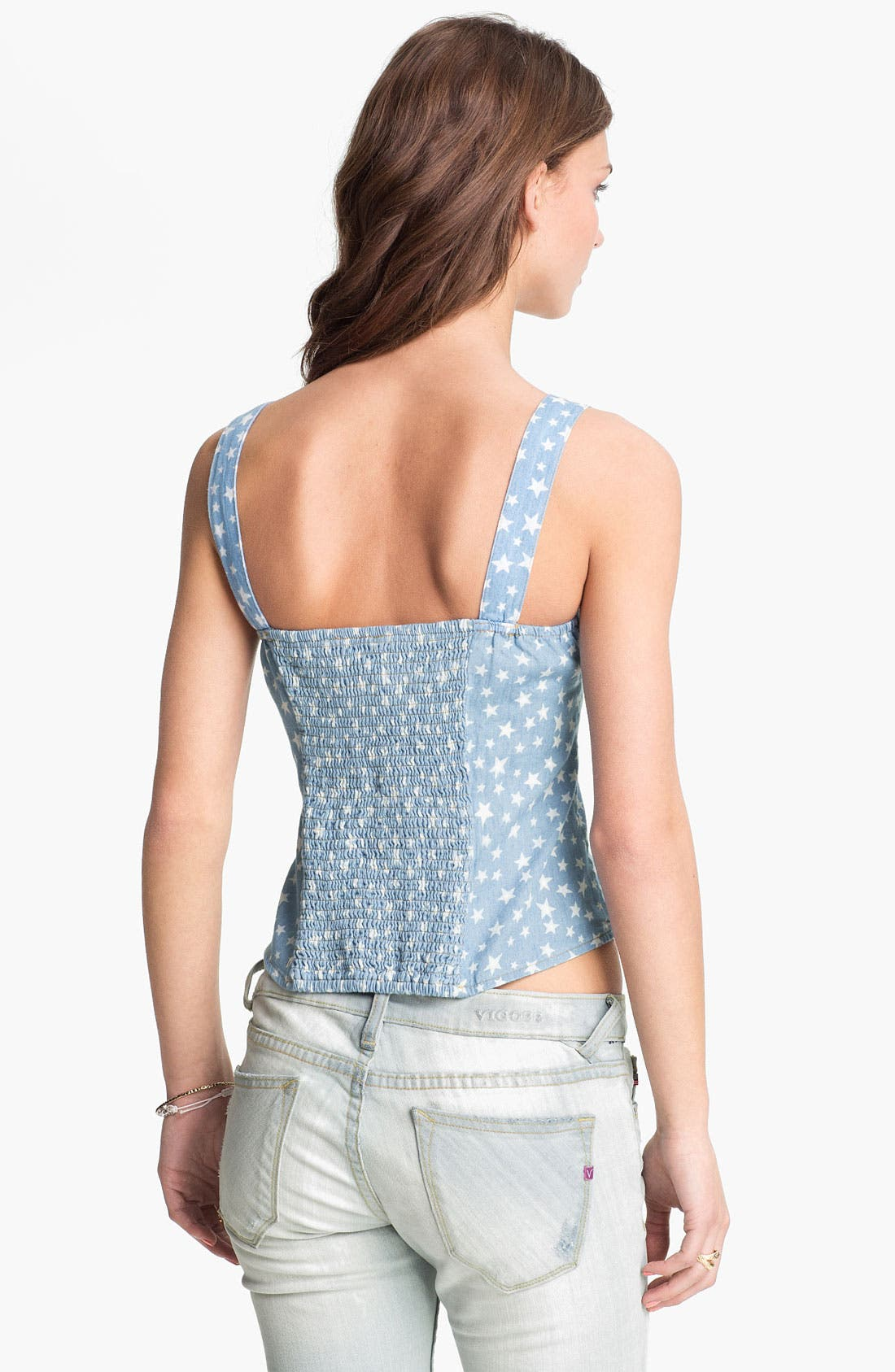Alternate Image 2  - Mimi Chica Print Chambray Camisole (Juniors)