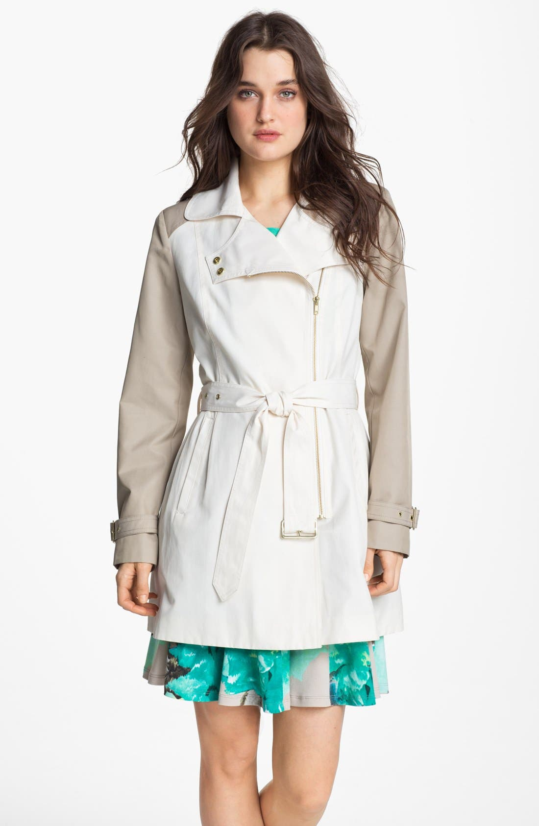 Main Image - Kenneth Cole New York Colorblock Asymmetrical Zip Trench Coat