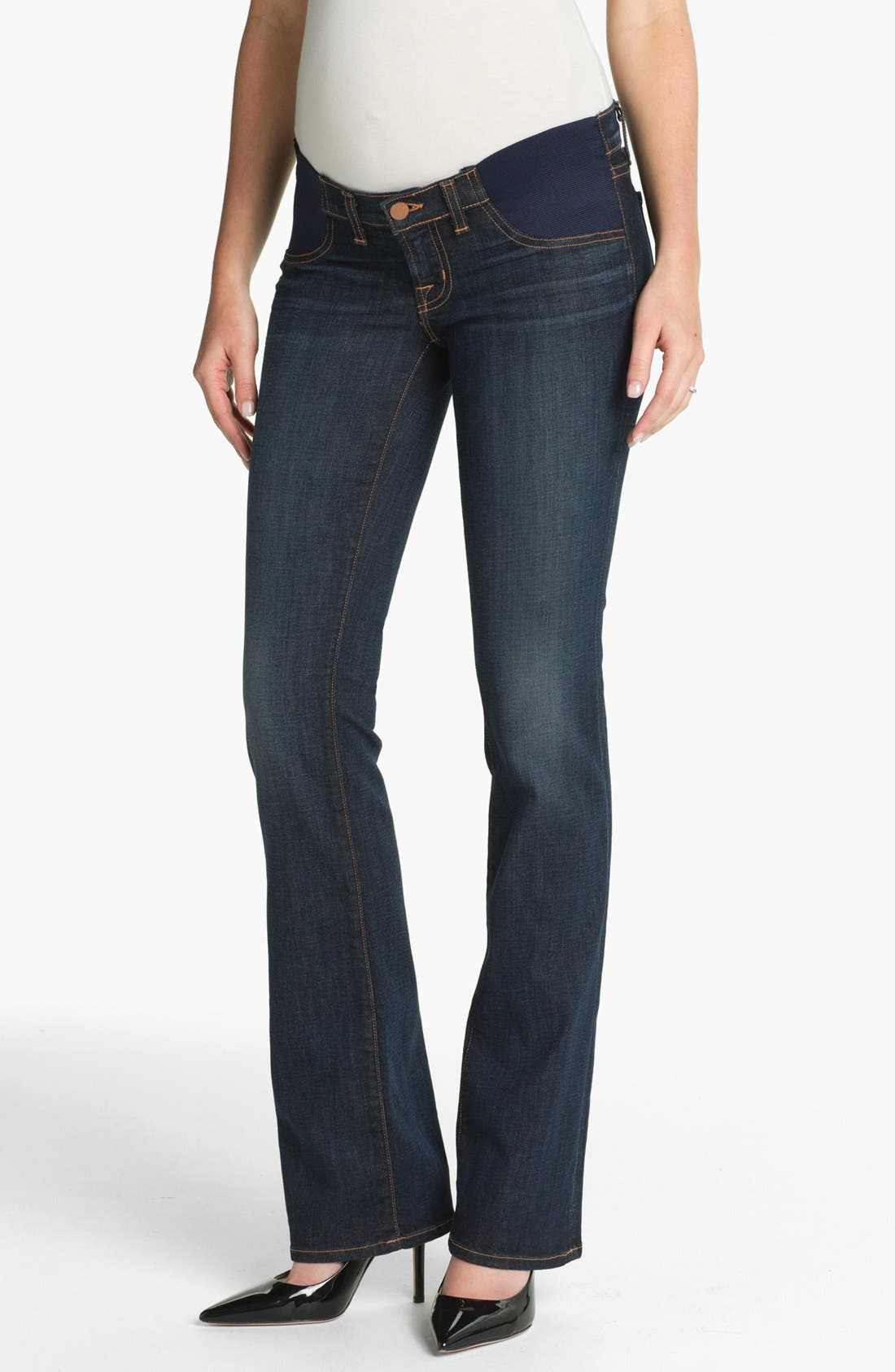 Main Image - J Brand Maternity Straight Leg Stretch Jeans (Dark Vintage)
