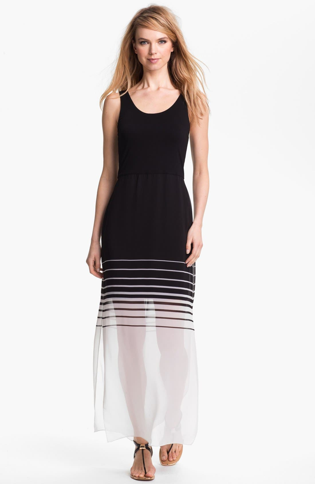 Alternate Image 1 Selected - Vince Camuto Mixed Media Maxi Dress (Regular & Petite)
