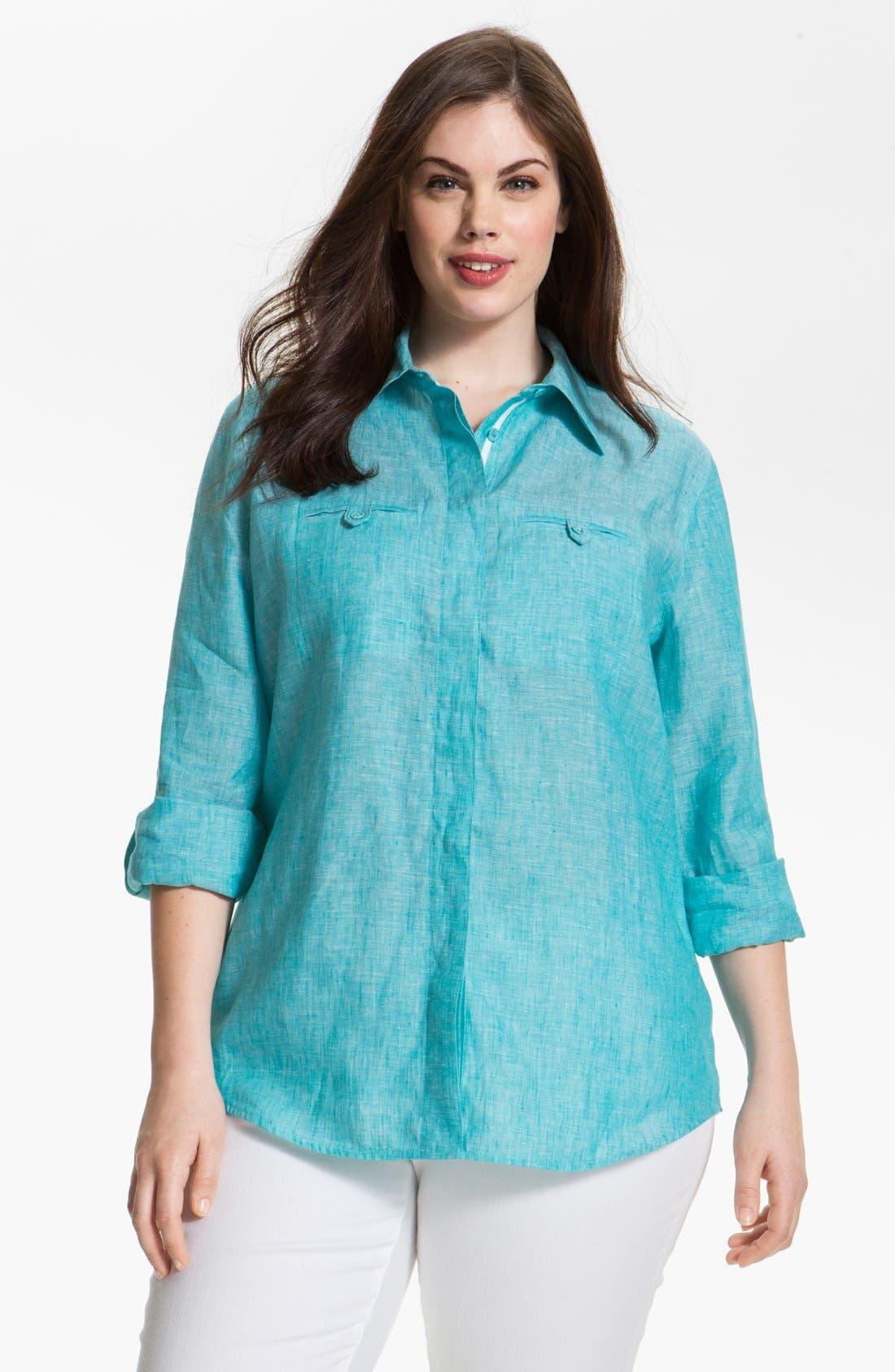 Main Image - Foxcroft Linen Shaped Shirt (Plus Size)