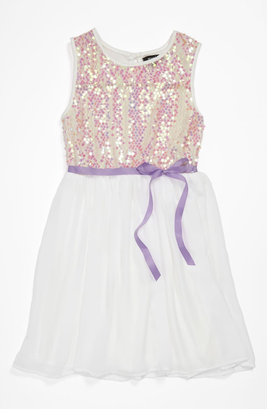 Alternate Image 1 Selected - Zunie Sleeveless Skater Dress (Big Girls)
