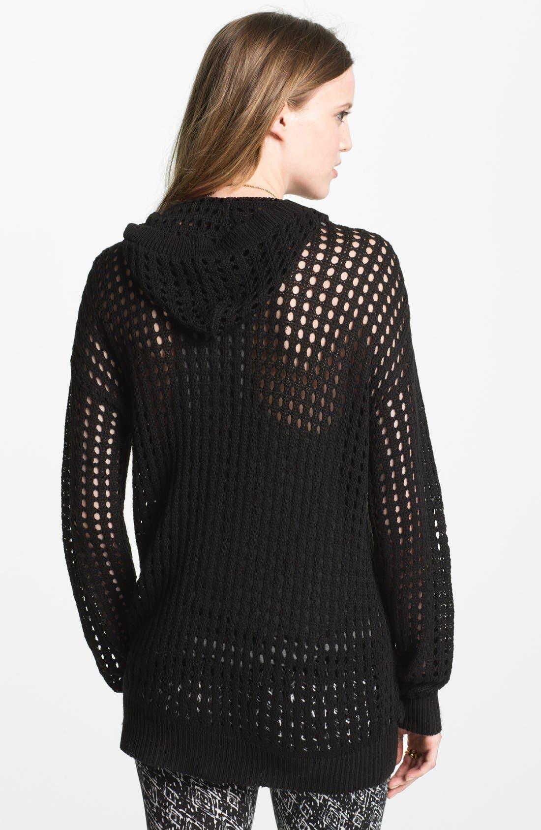 Alternate Image 2  - Cotton Emporium Mesh Knit Oversized Cardigan (Juniors)