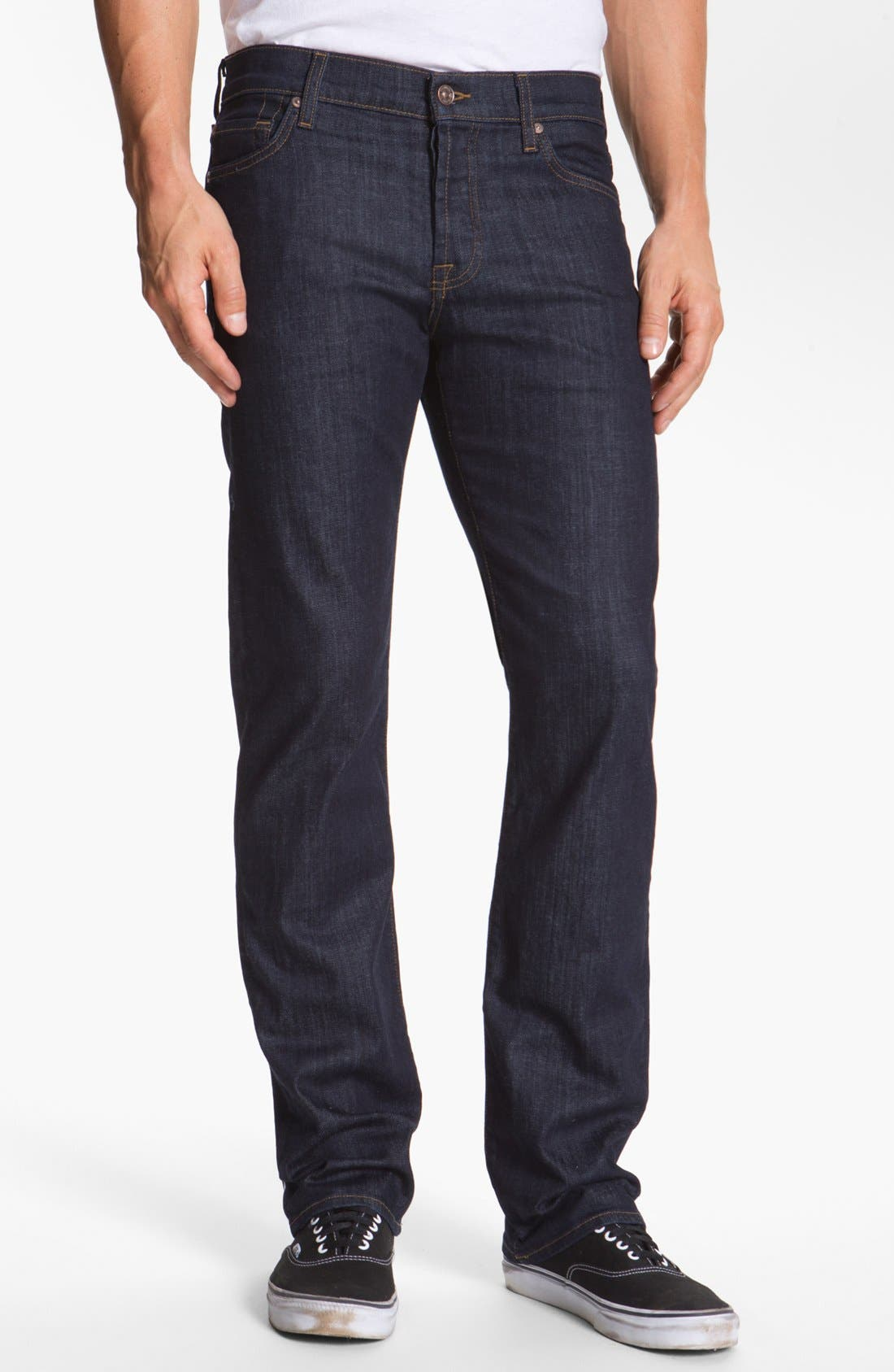 Alternate Image 1 Selected - 7 For All Mankind® 'Standard' Straight Leg Jeans (Dark and Clean)