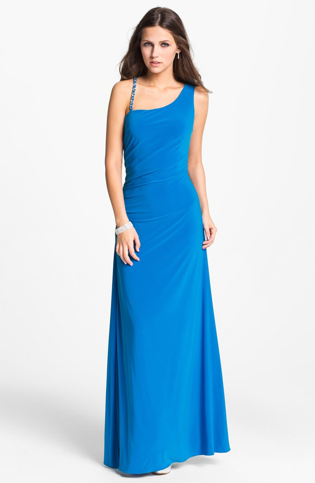 Main Image - Hailey by Adrianna Papell Embellished Strap Jersey Gown