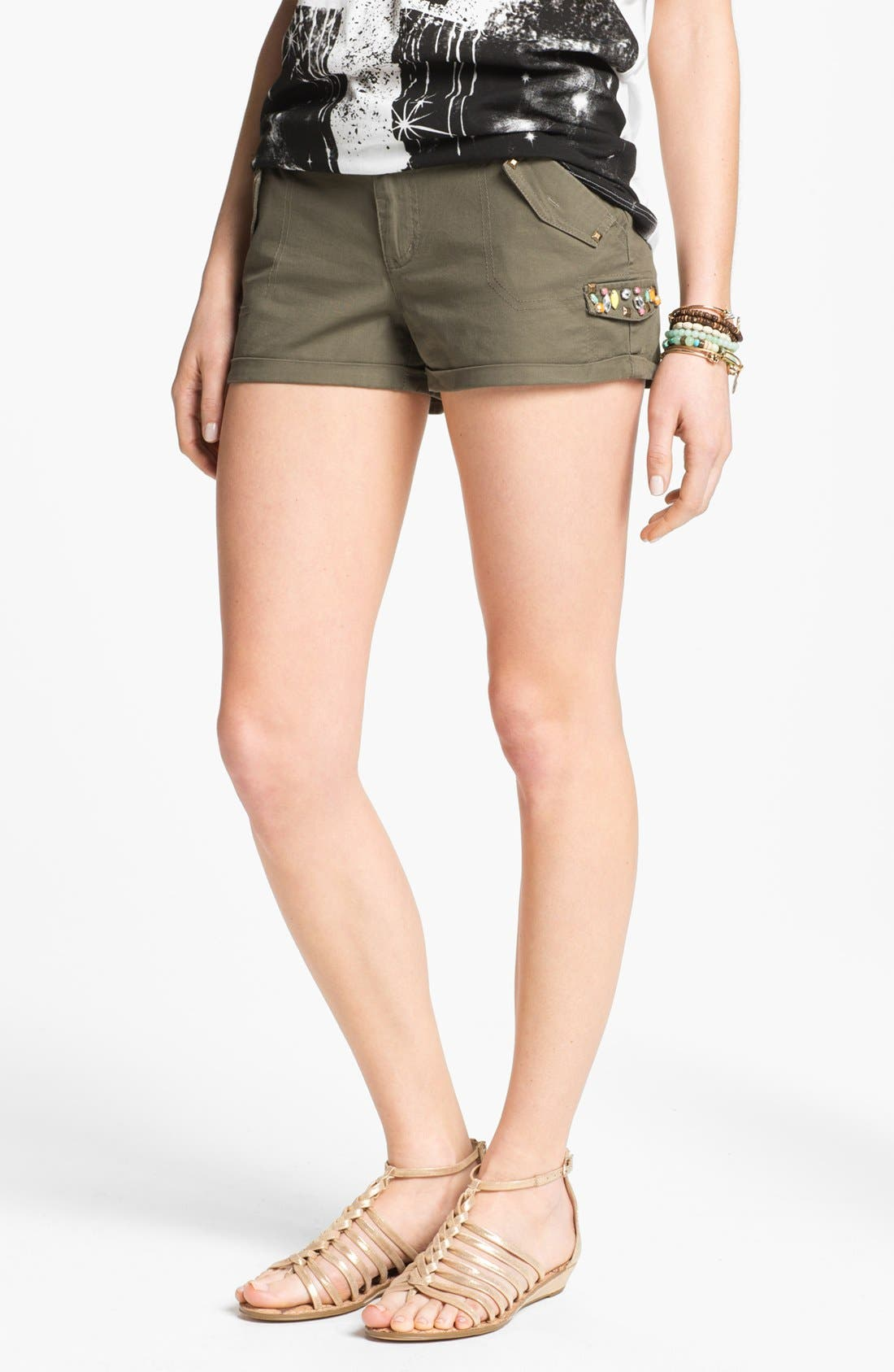 Alternate Image 1 Selected - Jolt Rhinestone Embellished Shorts (Juniors)