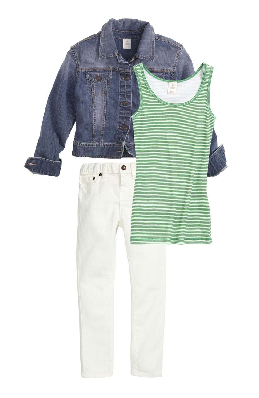 Main Image - Tucker + Tate Tank Top, Jacket & Skinny Jeans (Big Girls)