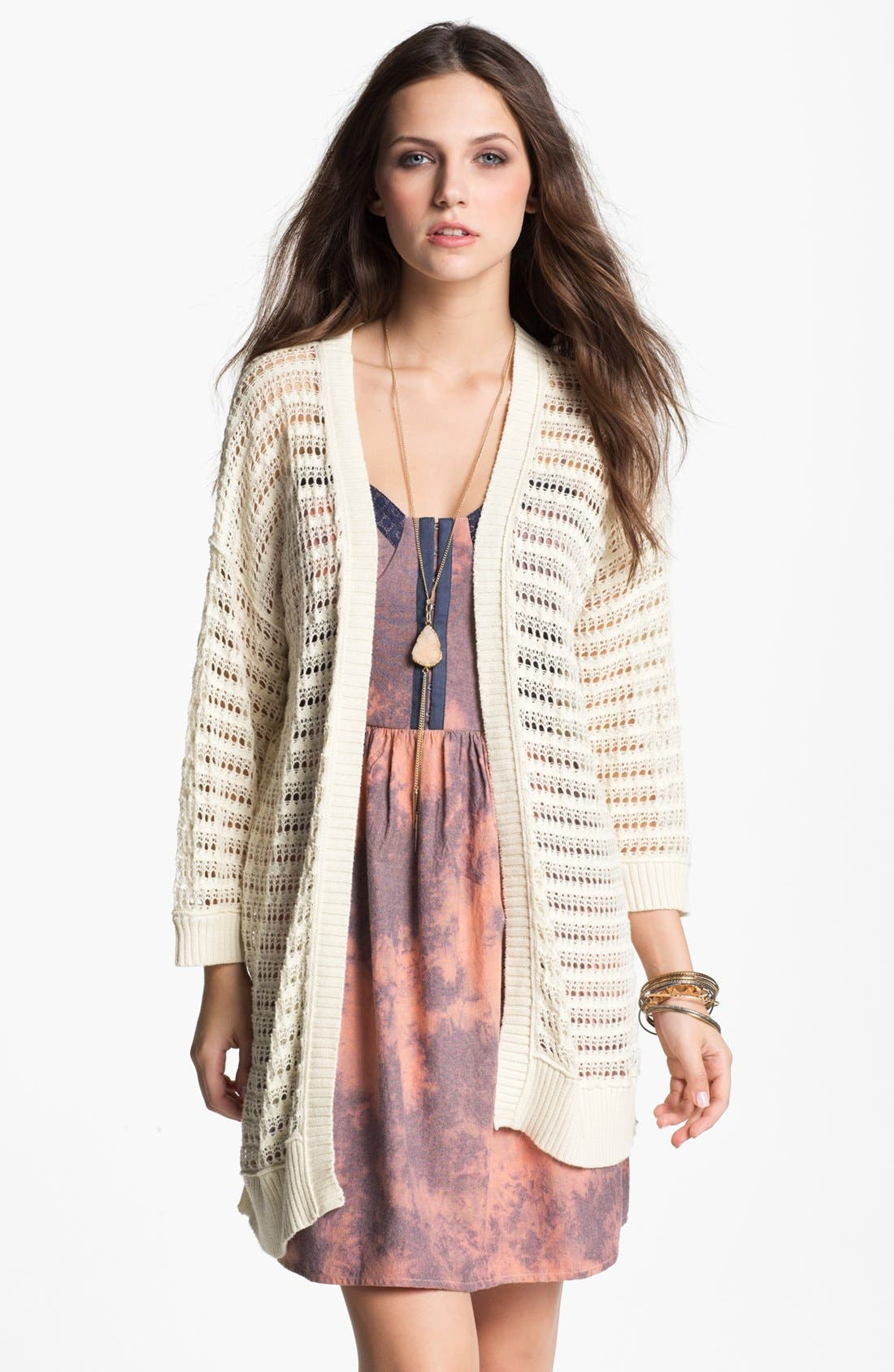 Alternate Image 1 Selected - Rubbish® Open Weave Cardigan (Juniors)