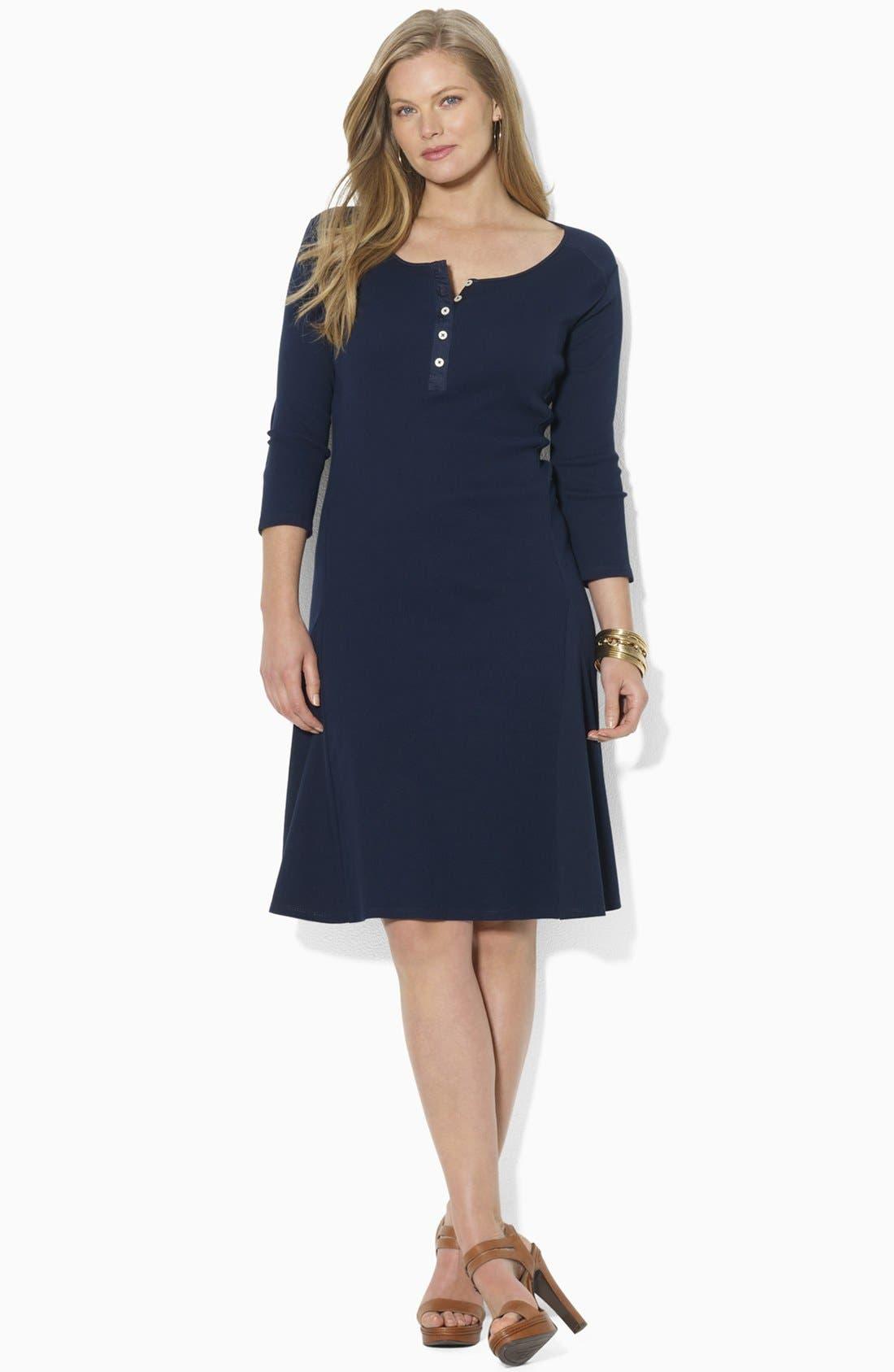 Alternate Image 1 Selected - Lauren Ralph Lauren Henley A-Line Dress (Plus)