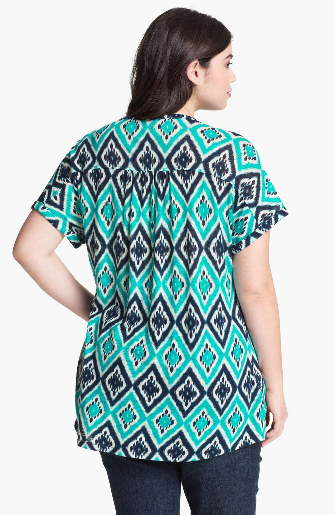 Alternate Image 2  - Lucky Brand Ikat Print Top (Plus Size)