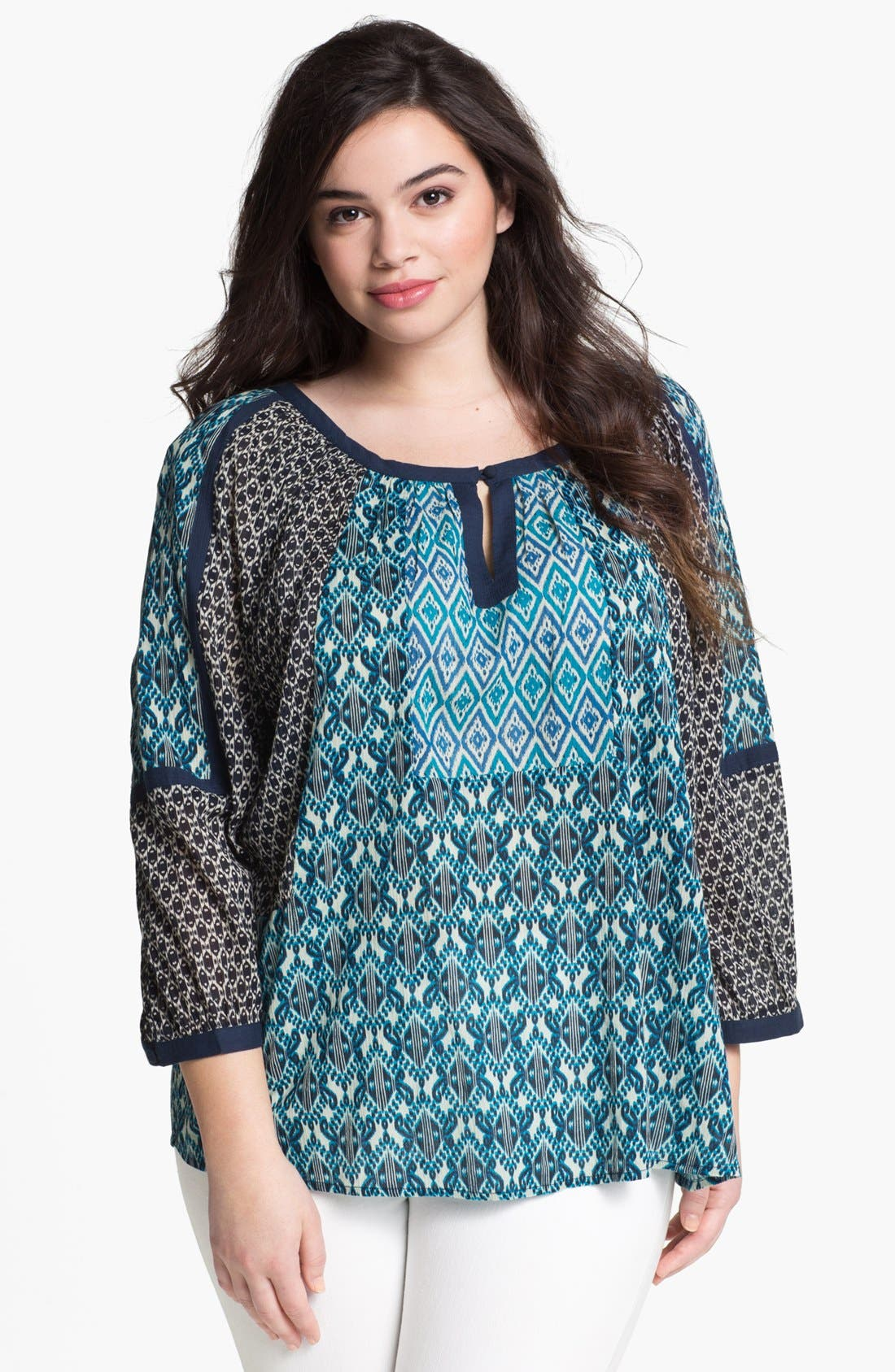 Alternate Image 1 Selected - Lucky Brand 'Bali' Geo Print Blouse (Plus Size)
