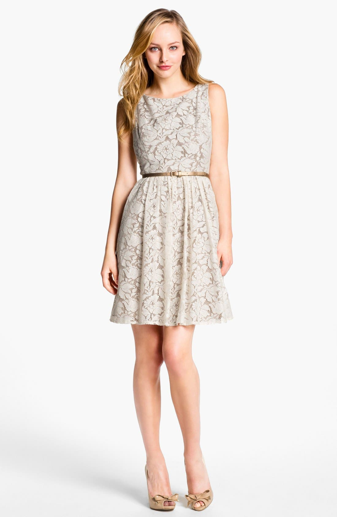 Alternate Image 1  - Eliza J Lace Fit & Flare Dress (Petite)