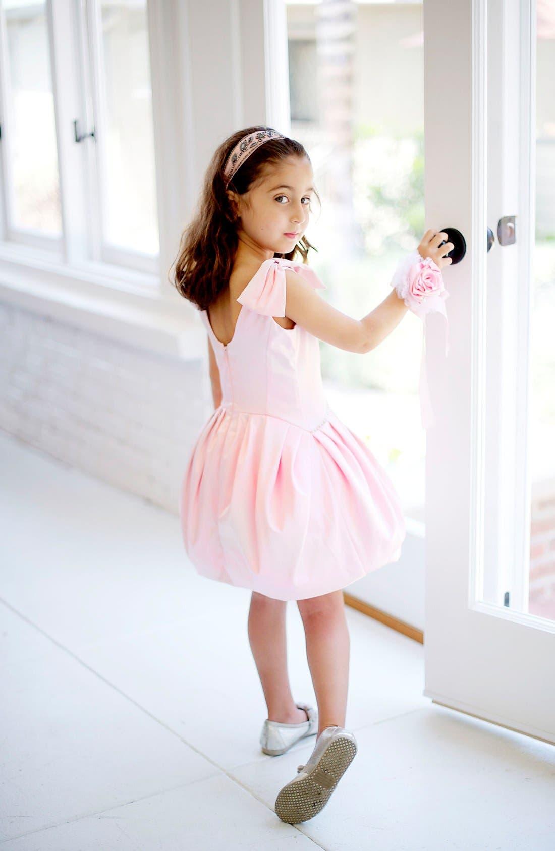 Alternate Image 2  - La Piccola Danza Kidswear Satin Pleated Dress (Little Girls & Big Girls)