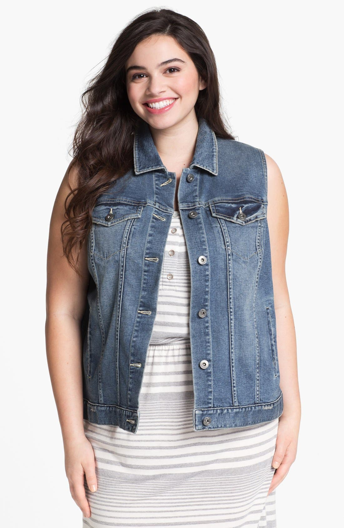 Main Image - Two by Vince Camuto Denim Vest (Plus Size)