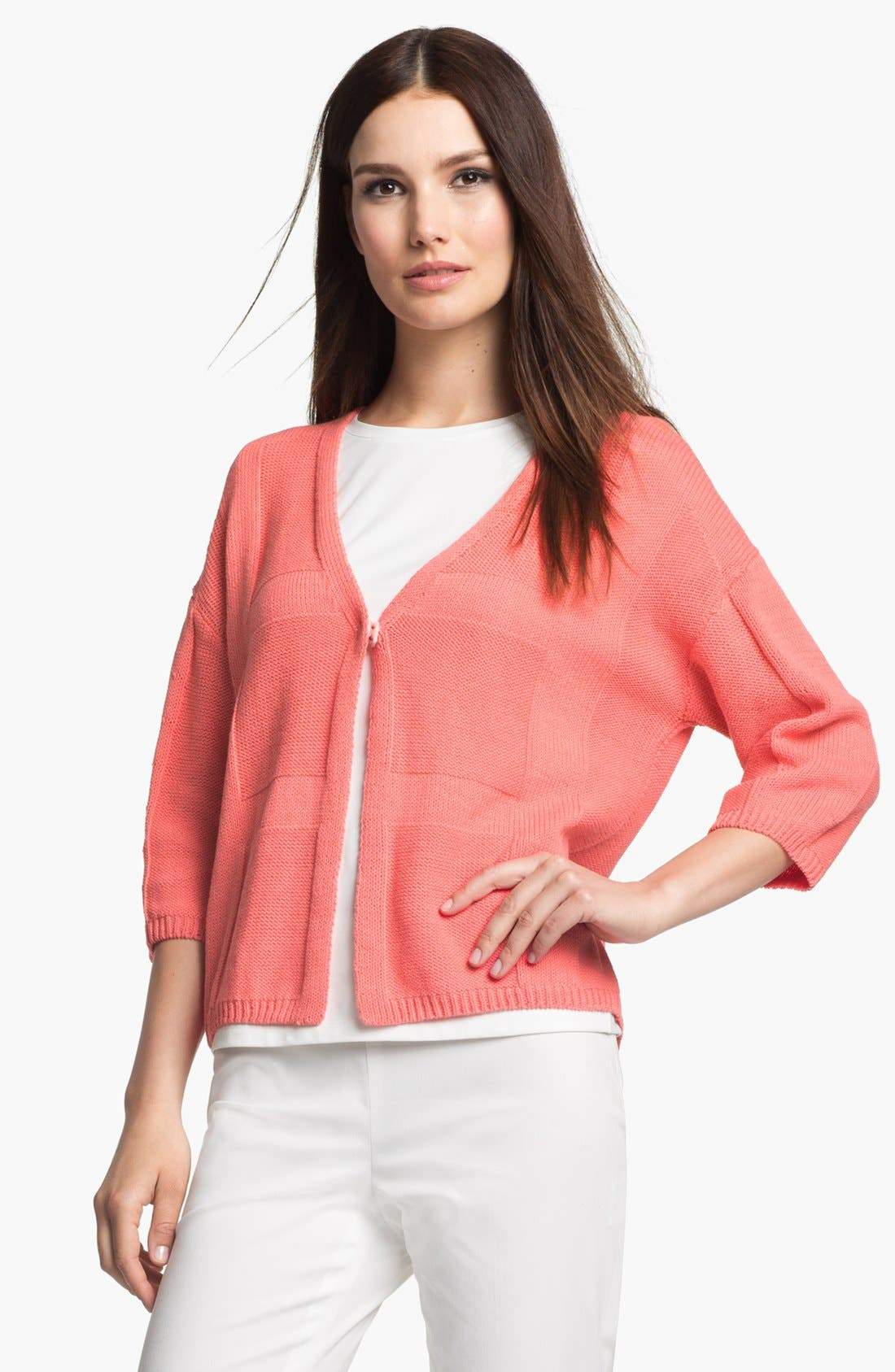 Alternate Image 1 Selected - Lafayette 148 New York 'Essential' V-Neck Cotton Blend Sweater