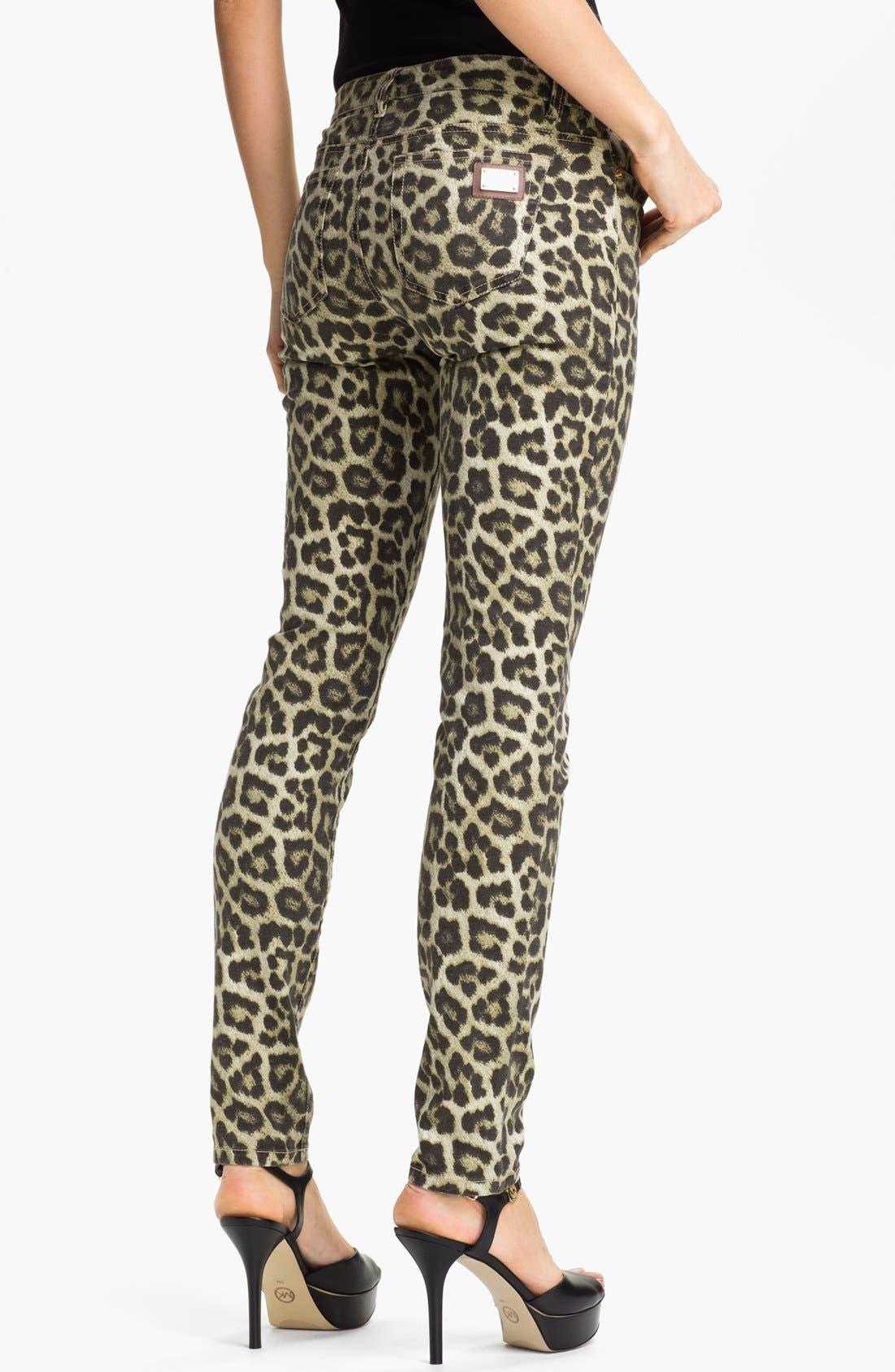 Alternate Image 2  - MICHAEL Michael Kors 'Savannah' Leopard Print Skinny Jeans (Petite)