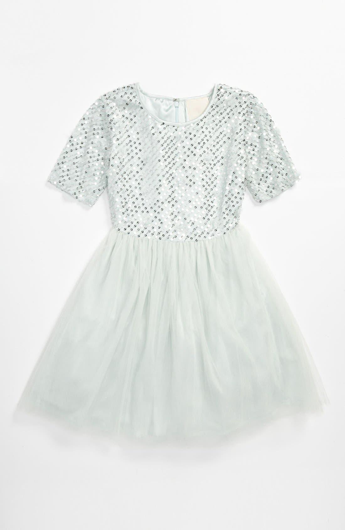 Main Image - La Piccola Danza Kidswear Elbow Sleeve Beaded Dress (Big Girls)