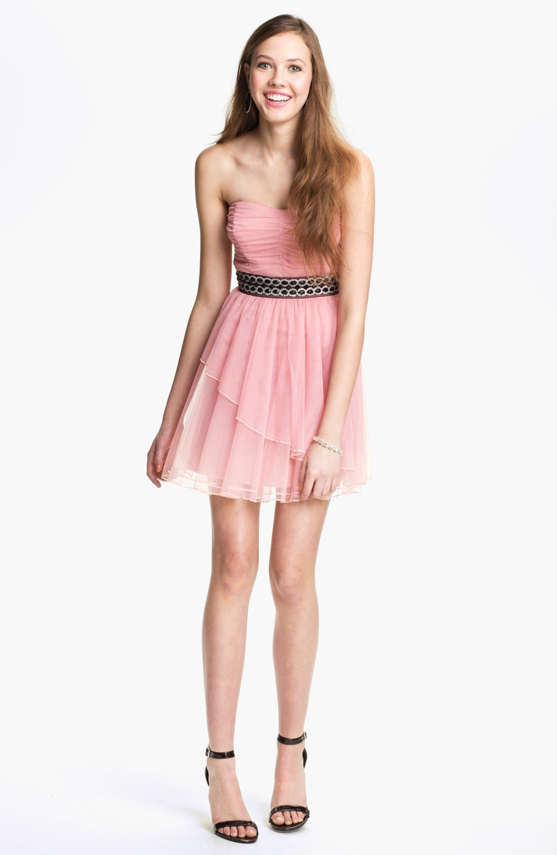Main Image - Trixxi Ruched Chiffon Party Dress (Juniors)