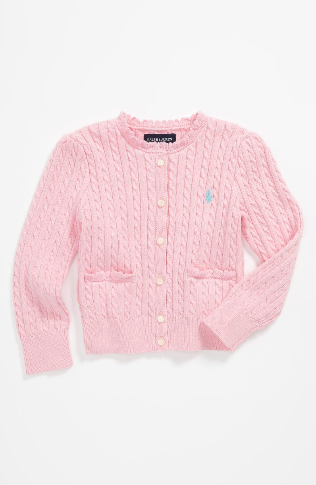 Main Image - Ralph Lauren Cable Knit Cardigan (Toddler)
