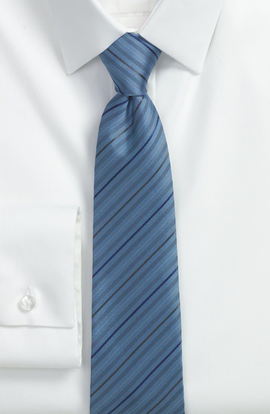 Alternate Image 2  - Z Zegna Herringbone Stripe Woven Silk Tie