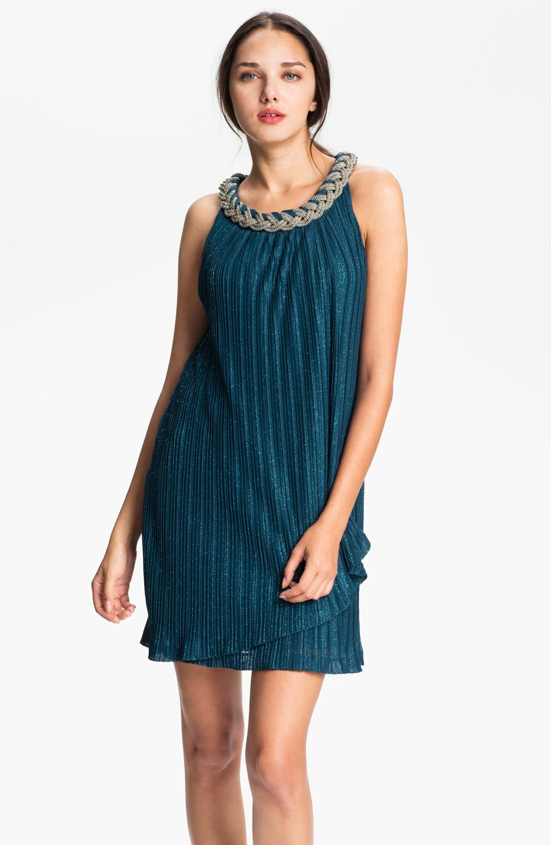 Alternate Image 1 Selected - Donna Ricco Braided Collar Shift Dress (Petite)