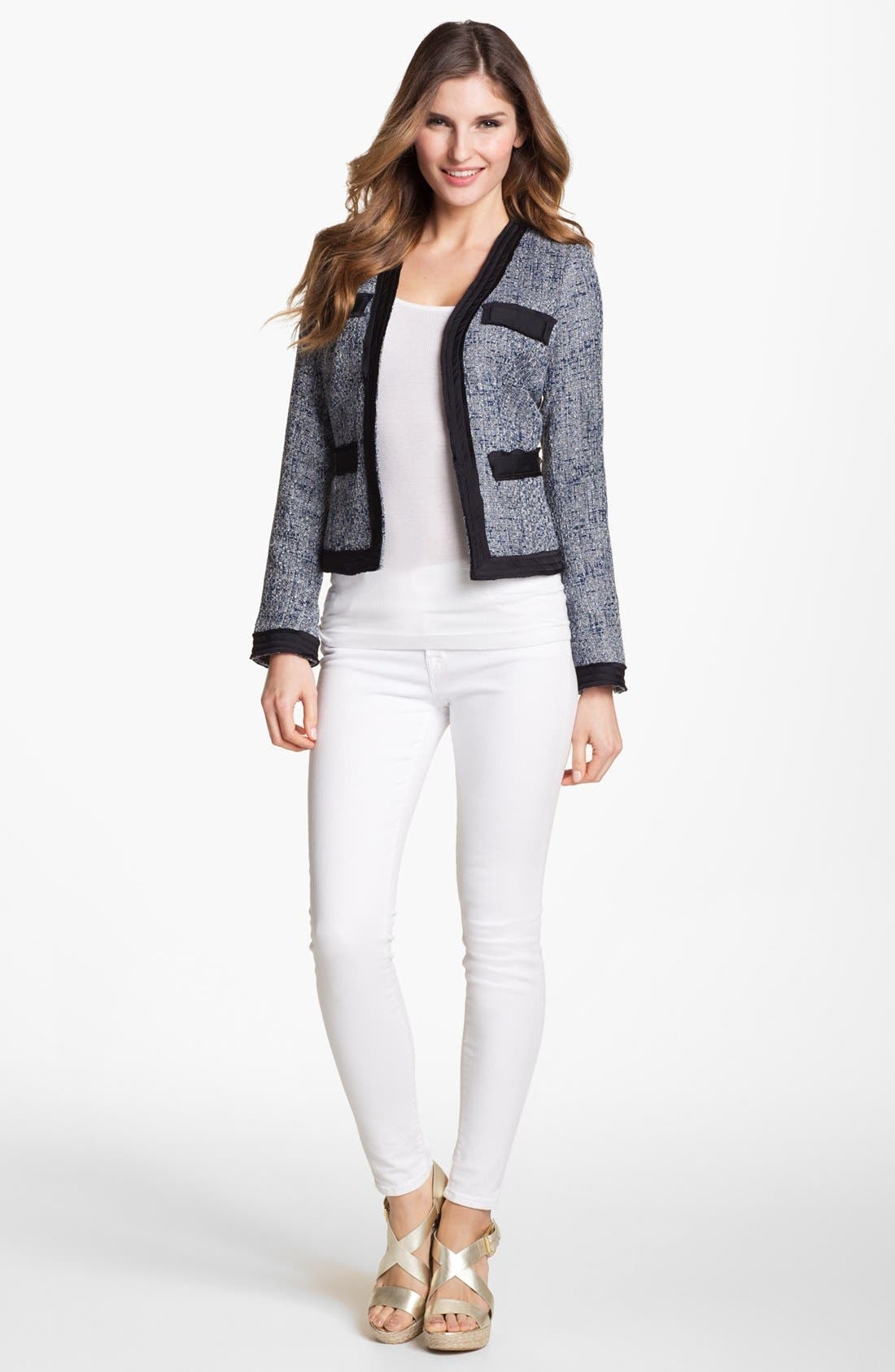 Alternate Image 1 Selected - MICHAEL Michael Kors Woven Trim Tweed Jacket