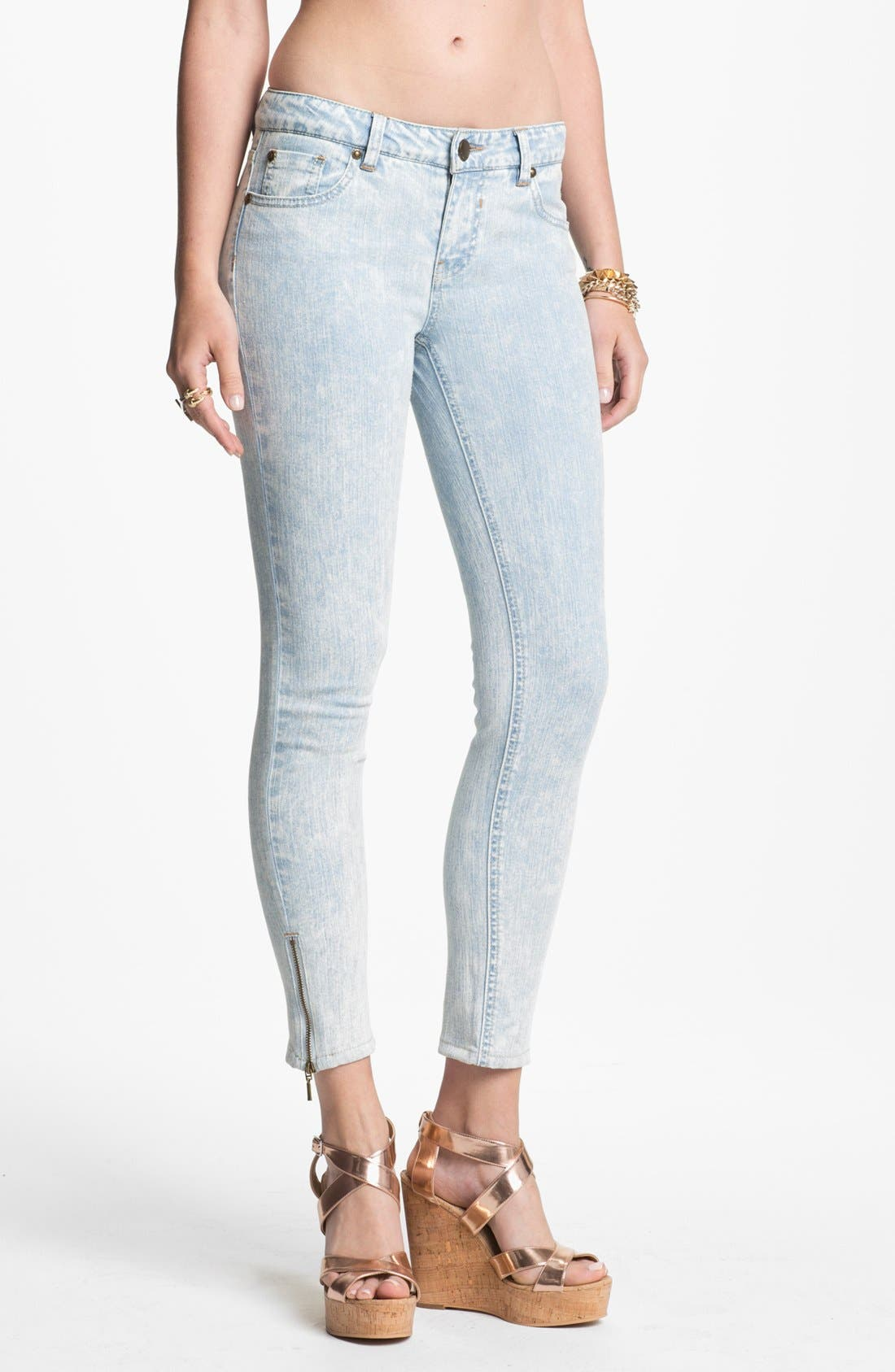 Main Image - Fire Zip Cuff Skinny Ankle Jeans (Acid) (Juniors)