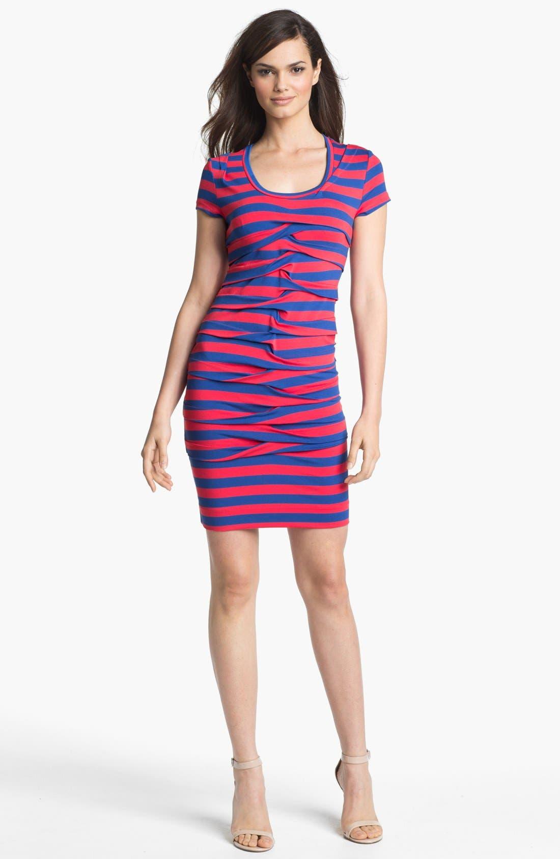 Alternate Image 1  - Nicole Miller Stripe Front Twist Jersey Dress