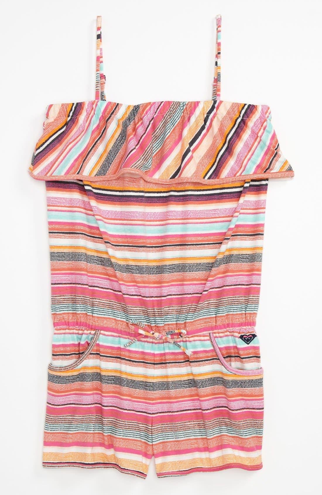 Alternate Image 1 Selected - 'Posies' Knit Romper (Big Girls)