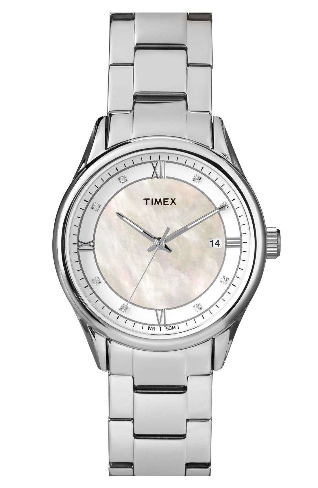 Main Image - Timex® Mother of Pearl Dial Bracelet Watch, 36mm