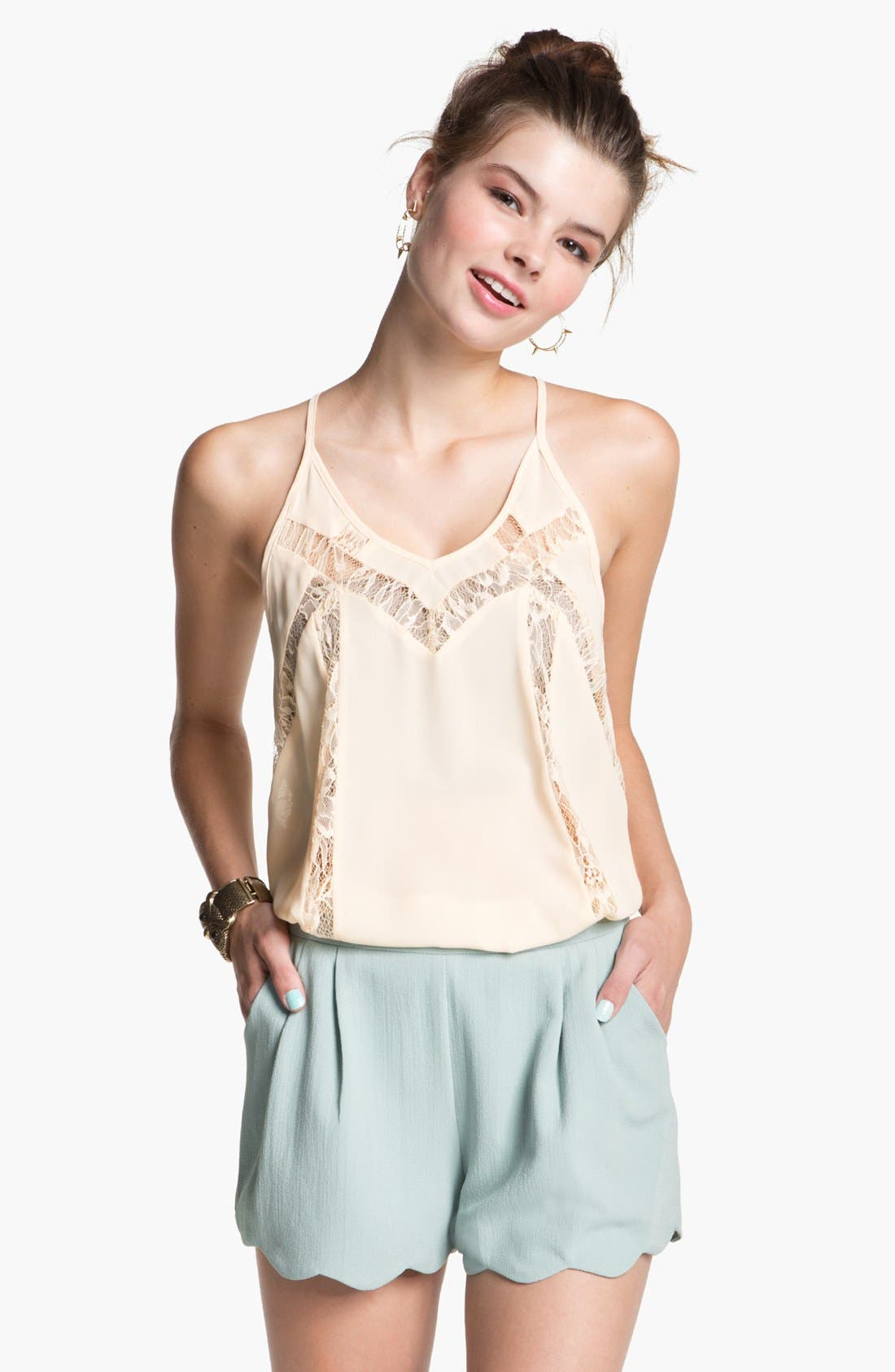 Alternate Image 1 Selected - Lush Lace Inset Camisole (Juniors)